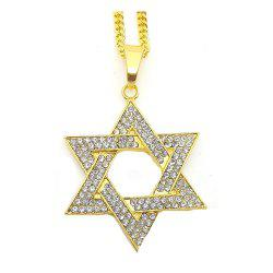 New Trend Gold Six Pointed Star Full Drill Exaggerated Necklace -