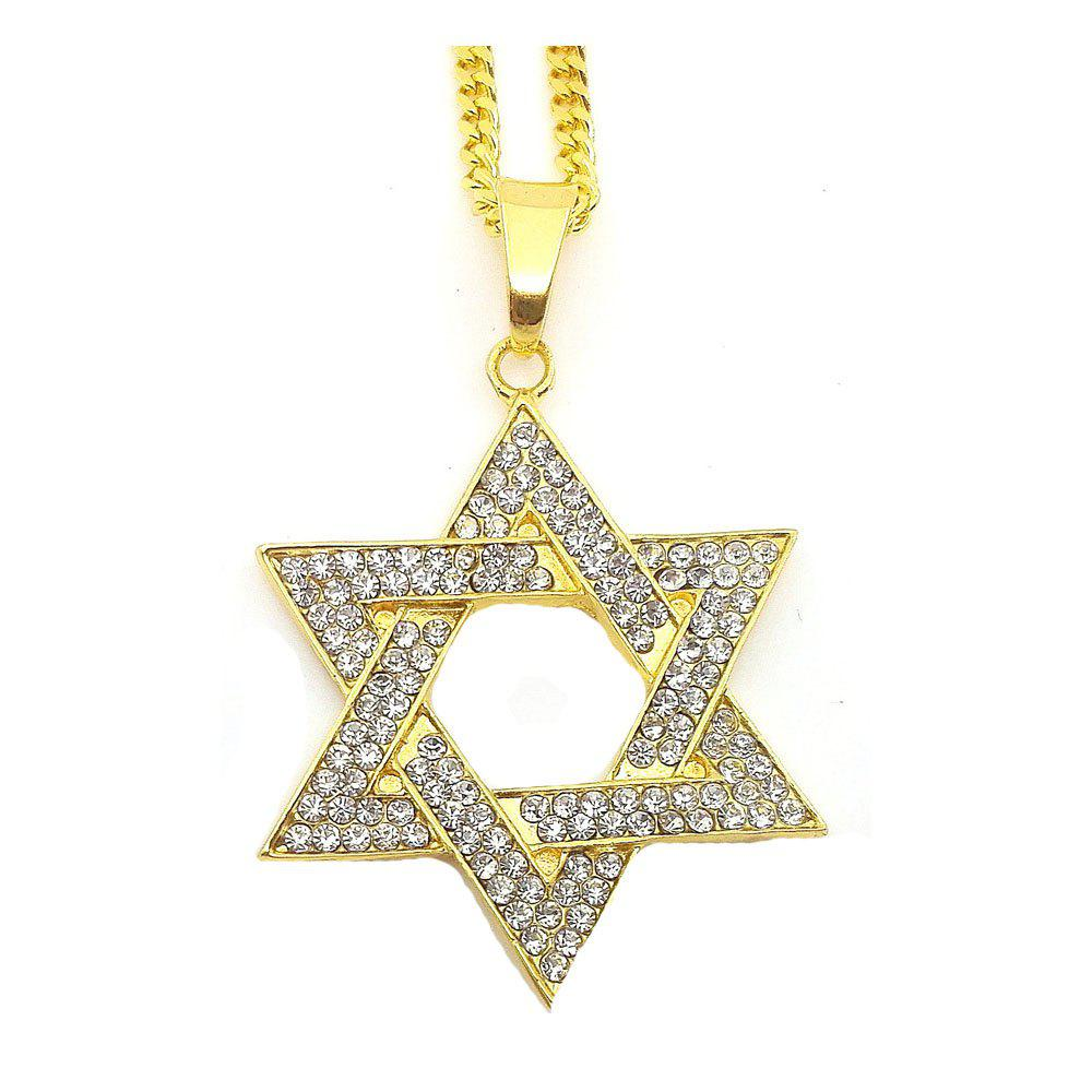 Outfit New Trend Gold Six Pointed Star Full Drill Exaggerated Necklace