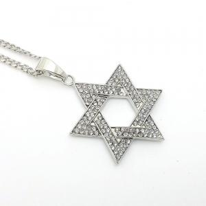 New Silver Six Angle Star Pendant Necklace -