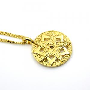 Trendy Gold Five Star Pendant Necklace -
