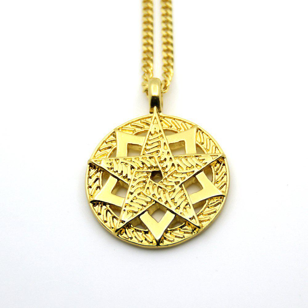 Latest Trendy Gold Five Star Pendant Necklace
