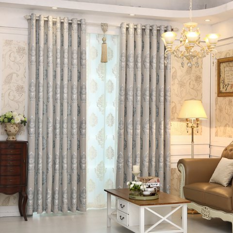 Online European Minimalist Style living Room Bedroom Jacquard Curtains Grommet