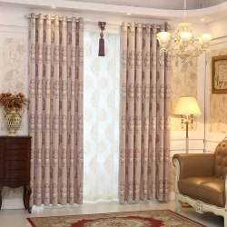 European Minimalist Style living Room Bedroom Jacquard Curtains Grommet -