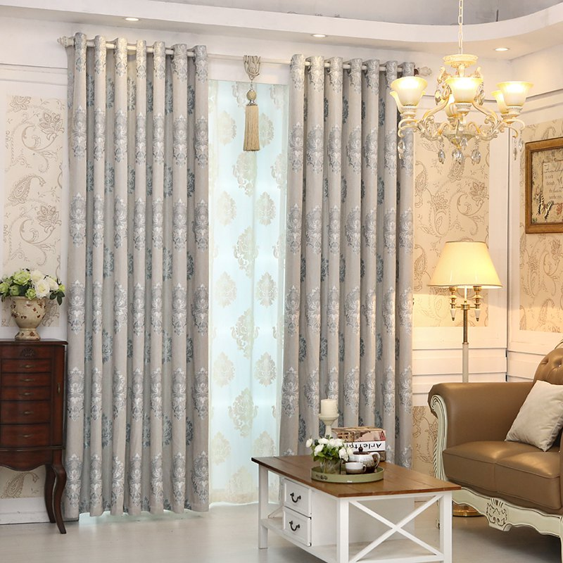 Outfit European Minimalist Style living Room Bedroom Jacquard Curtains Grommet