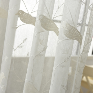 European Minimalist Style Bedroom Restaurant Embroidered Curtains -