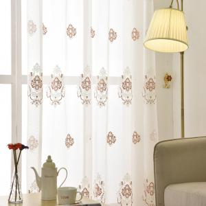 European Minimalist Style Restaurant Embroidered Curtains Grommet -