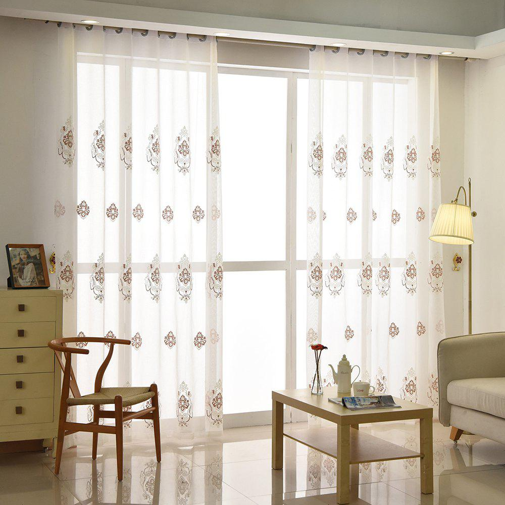 Trendy European Minimalist Style Restaurant Embroidered Curtains Grommet