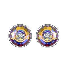 925 Sterling Silver Fashion Jewelry Ears Button Shape Multicolor Stud Earrings -