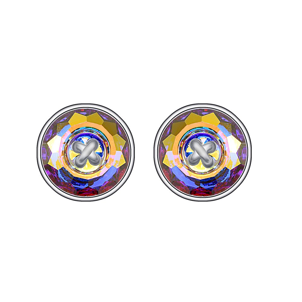 Fancy 925 Sterling Silver Fashion Jewelry Ears Button Shape Multicolor Stud Earrings