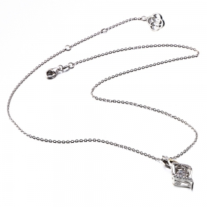 Twinkling Tears Design Rhodium Plated Cubic Zirconia  Pendant Necklace -