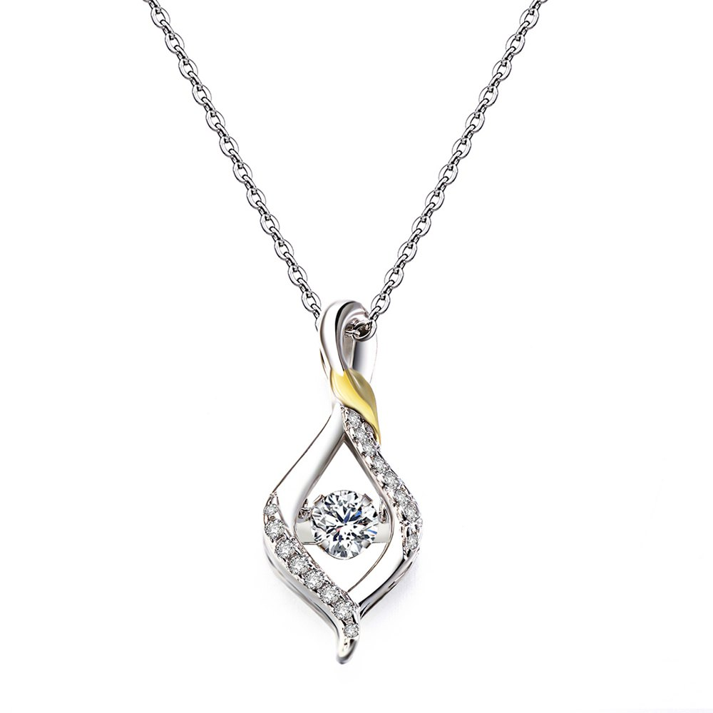 Fancy Twinkling Tears Design Rhodium Plated Cubic Zirconia  Pendant Necklace