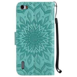 Sun Flower Printing Design Pu Leather Flip Wallet Lanyard Protective Case for Huawei Honor 6 -