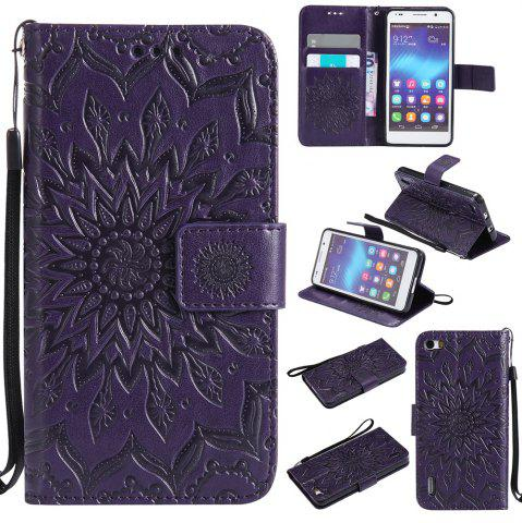 Affordable Sun Flower Printing Design Pu Leather Flip Wallet Lanyard Protective Case for Huawei Honor 6