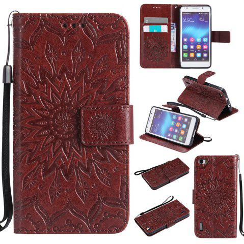 Fashion Sun Flower Printing Design Pu Leather Flip Wallet Lanyard Protective Case for Huawei Honor 6