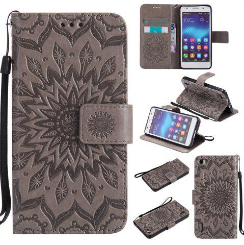 Sale Sun Flower Printing Design Pu Leather Flip Wallet Lanyard Protective Case for Huawei Honor 6