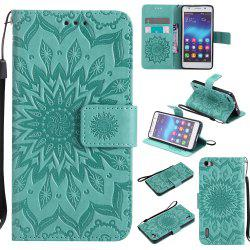 Sun Flower Printing Design Pu Leather Flip Wallet Lanyard Защитный чехол для Huawei Honor 6 -