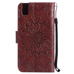 Sun Flower Printing Design Pu Leather Flip Wallet Lanyard Защитный чехол для Huawei Honor 7i -