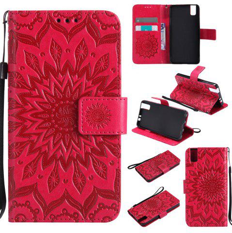 Affordable Sun Flower Printing Design Pu Leather Flip Wallet Lanyard Protective Case for Huawei Honor 7i