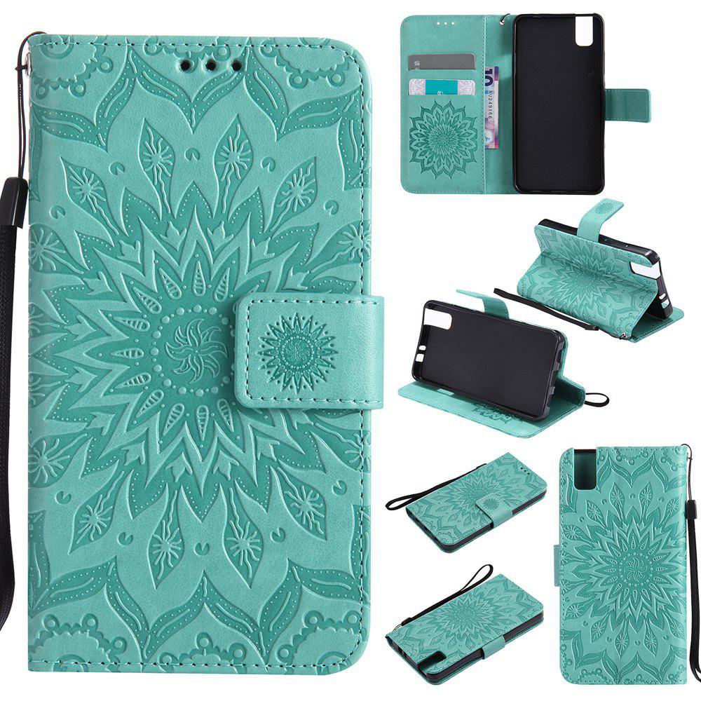 Unique Sun Flower Printing Design Pu Leather Flip Wallet Lanyard Protective Case for Huawei Honor 7i