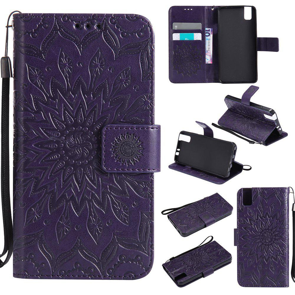 Chic Sun Flower Printing Design Pu Leather Flip Wallet Lanyard Protective Case for Huawei Honor 7i