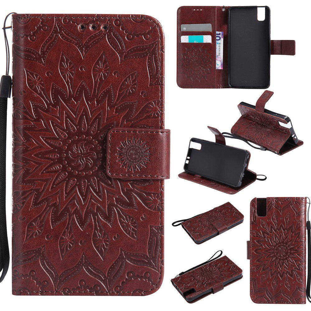 Outfits Sun Flower Printing Design Pu Leather Flip Wallet Lanyard Protective Case for Huawei Honor 7i