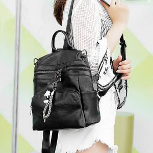 Women's Backpack All-match Chic Solid Color PU Leather Travel Bag -