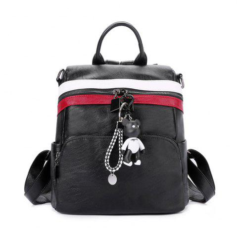 Shops Women's Backpack All-match Chic Solid Color PU Leather Travel Bag
