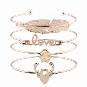 4pcs Letters  Feather-shaped Bangles Alloy Opening Love Bracelets Charm Jewelry -