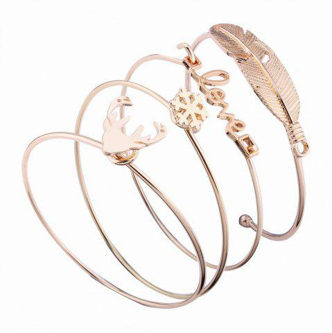 Cheap 4pcs Letters  Feather-shaped Bangles Alloy Opening Love Bracelets Charm Jewelry