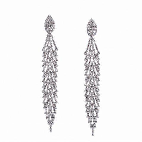 Affordable Fashion Design Alloy Graceful Long Drop Earrings with Diamond Party Charm Jewelry