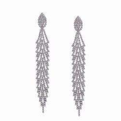 Fashion Design Alloy Graceful Long Drop Earrings with Diamond Party Charm Jewelry -