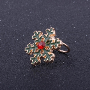 Fashion Design Korean Style Christmas  Snowflakes Clip Earrings Charm Alloy Rhinestone Jewelry -