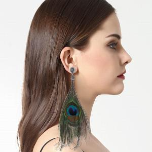 Fashion Ethnic Style Feathers-shaped Long Drop Earrings with Diamond Charm Jewelry -