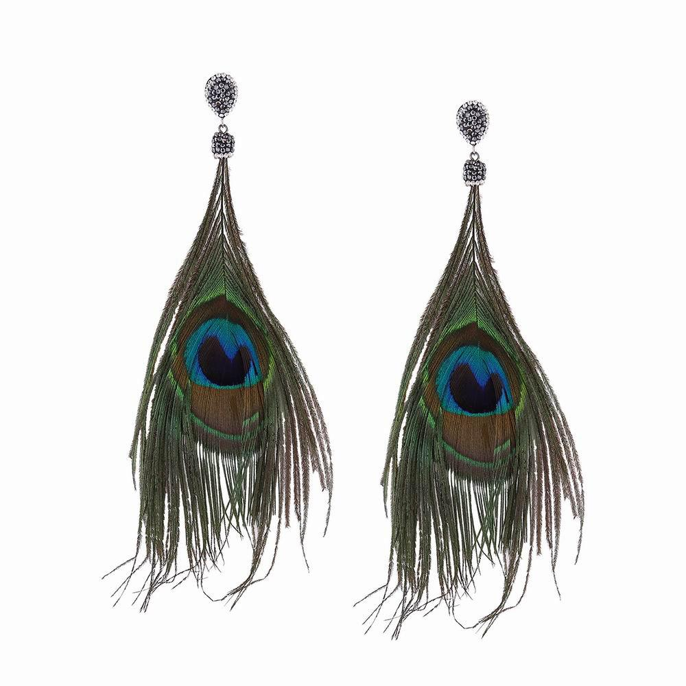 Affordable Fashion Ethnic Style Feathers-shaped Long Drop Earrings with Diamond Charm Jewelry
