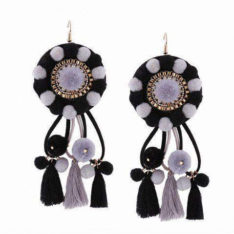 Outfit Fashion Bohemian Ethnic Style Hairball Tassel Earrings Charm Jewelry