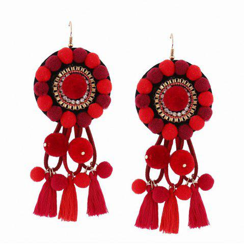 Online Fashion Bohemian Ethnic Style Hairball Tassel Earrings Charm Jewelry