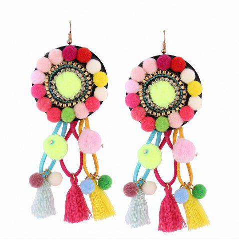 Store Fashion Bohemian Ethnic Style Hairball Tassel Earrings Charm Jewelry