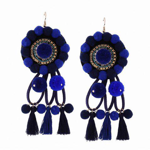 Shop Fashion Bohemian Ethnic Style Hairball Tassel Earrings Charm Jewelry