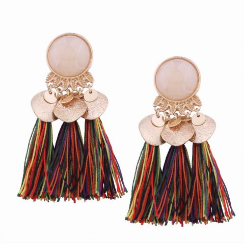 Online Fashion Design Bohemian Ethnic Style Alloy Resin Tassel Drop Earrings Charm Jewelry