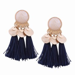 Fashion Design Bohemian Ethnic Style Alloy Resin Tassel Drop Earrings Charm Jewelry -