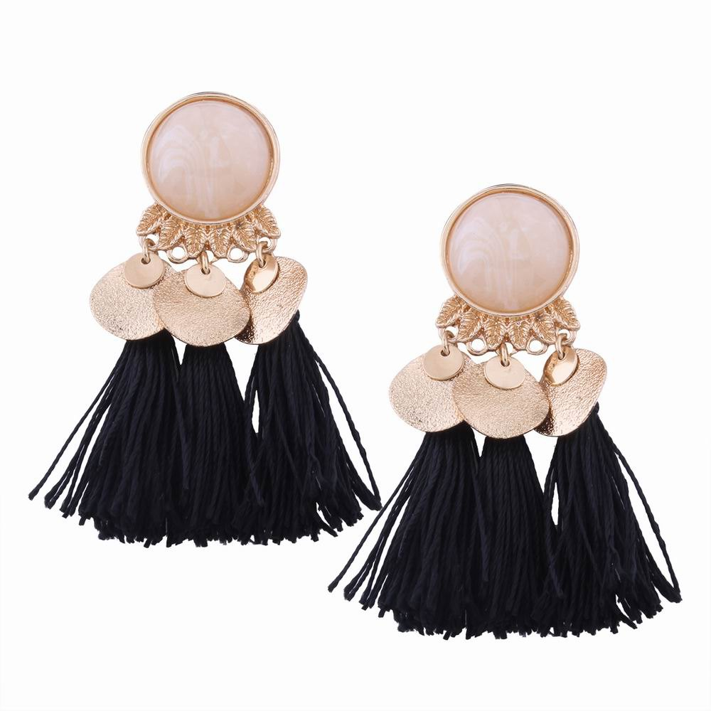 Latest Fashion Design Bohemian Ethnic Style Alloy Resin Tassel Drop Earrings Charm Jewelry