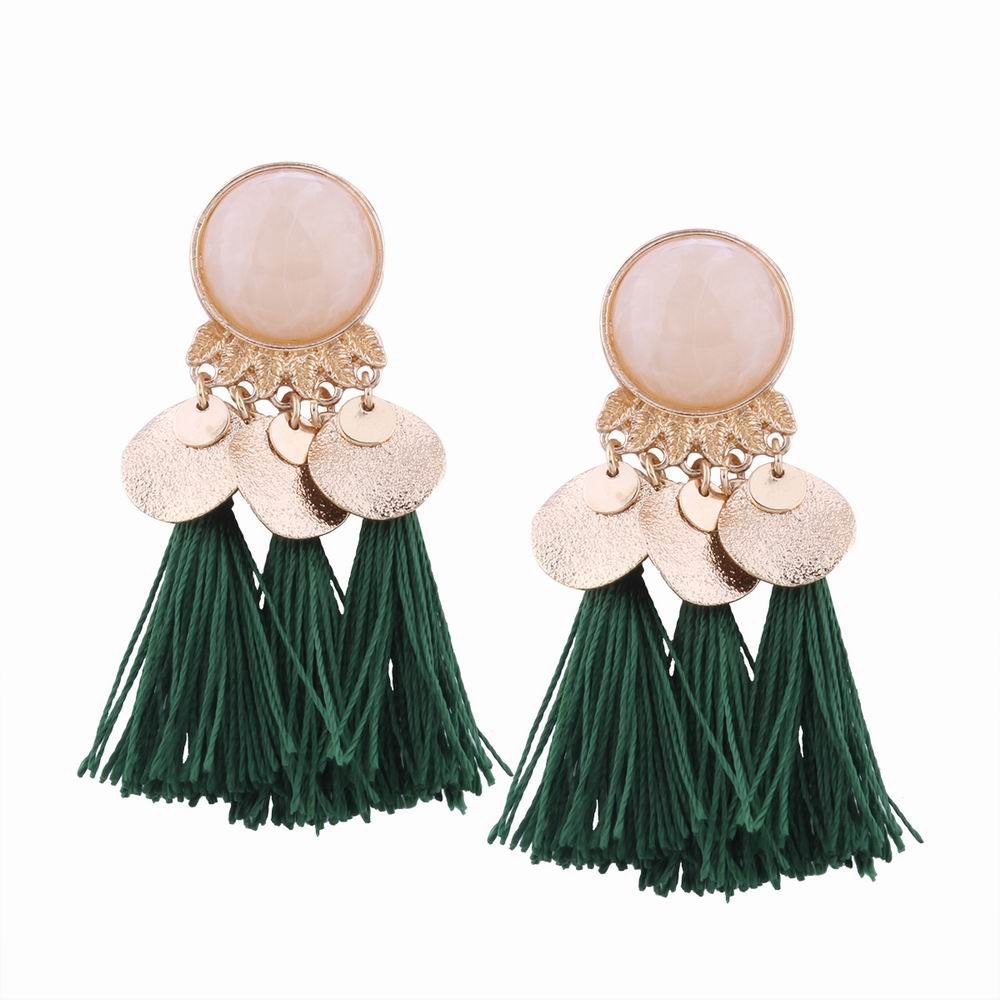 Fashion Fashion Design Bohemian Ethnic Style Alloy Resin Tassel Drop Earrings Charm Jewelry
