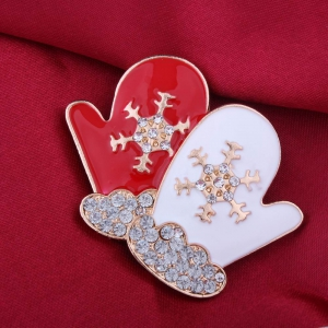 Fashion Design Red and White Gloves Snowflakes Brooch with Diamond Christmas Jewelry -