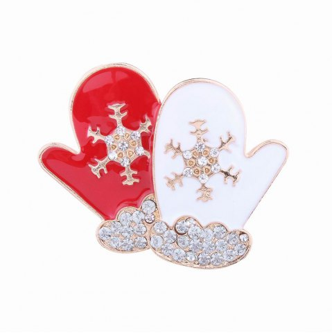 Buy Fashion Design Red and White Gloves Snowflakes Brooch with Diamond Christmas Jewelry