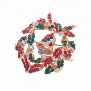 Fashion Design Christmas Bells Wreath Brooch with Diamond Charm Jewelry -