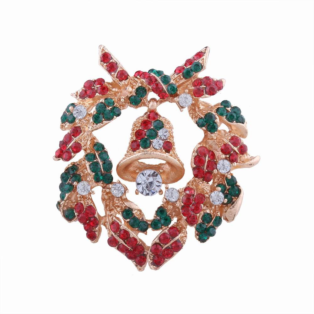 Fancy Fashion Design Christmas Bells Wreath Brooch with Diamond Charm Jewelry