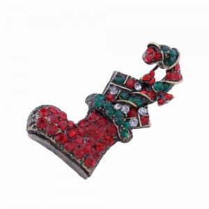 Fashion Design Multicolor Christmas Socks Brooch with Diamond Charm Jewelry -
