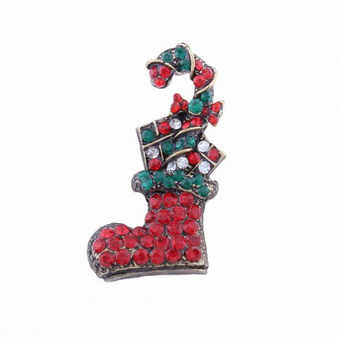 Cheap Fashion Design Multicolor Christmas Socks Brooch with Diamond Charm Jewelry
