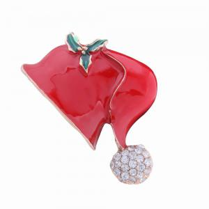Fashion Design Christmas Hat Alloy Brooch with Diamond Charm Jewelry -