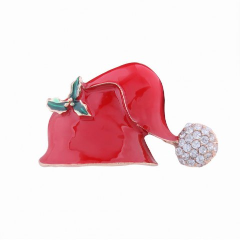 Hot Fashion Design Christmas Hat Alloy Brooch with Diamond Charm Jewelry